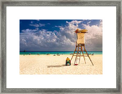Relaxing On A Sunny Mexican Beach Framed Print by Mark E Tisdale