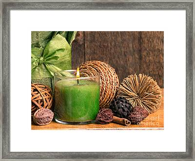 Relaxing Spa Candle Framed Print by Edward Fielding