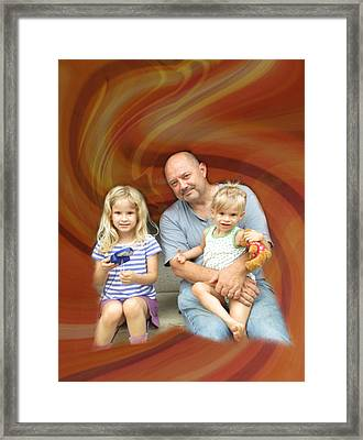 Relaxing With The Grandchildren Framed Print