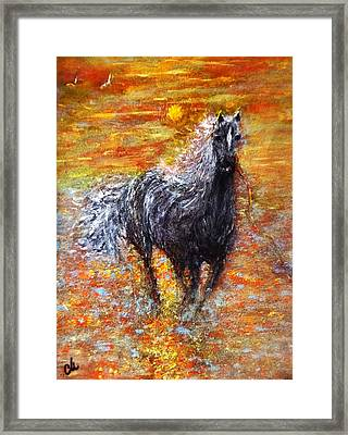 Framed Print featuring the painting Release.. by Cristina Mihailescu