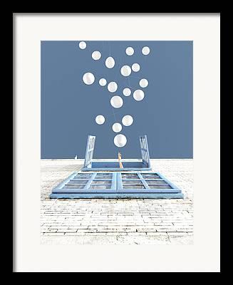 Blue Brick Framed Prints