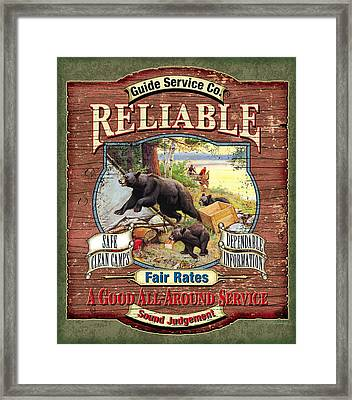 Reliable Guide Service Sign Framed Print by JQ Licensing