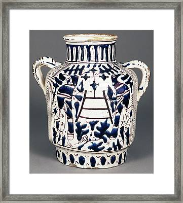 Relief-blue Jar With Harpies And Birds Probably Framed Print