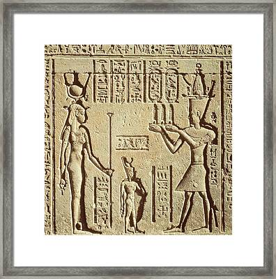 Relief Depicting A Pharaoh Making An Offering To Hathor, From The Roman Birth House, Or Mammisi Framed Print