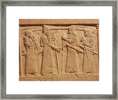 Relief Depicting King Shalmaneser IIi 858-824 Bc Of Assyria Meeting A Babylonian Stone Framed Print by Assyrian