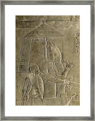 Relief Depicting The Chariot Of King Assurbanipal 669-626 Bc Detail Of The Canopy, From The Palace Framed Print by Assyrian