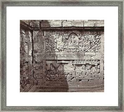 Relief In One Of The Layers Of The Borobudur Indonesia Framed Print