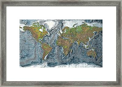 Relief Map Of The Earth Framed Print