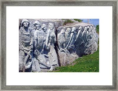 Relief Sculpture At Peggy's Cove Framed Print by Brenda Anne Foskett