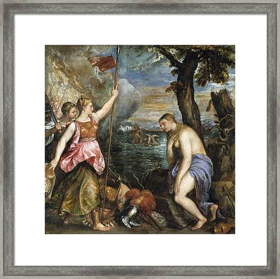 Religion Succoured By Spain Framed Print by Titian