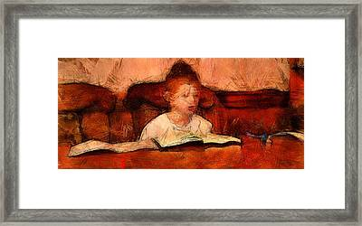 Religious Boy Learning With Book Old World Study Education Library  Framed Print by MendyZ