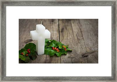 Religious Candle Framed Print