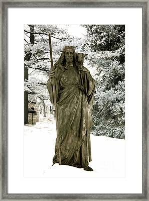 Religious Jesus Statue Holding Lamb Winter Scene Framed Print by Kathy Fornal