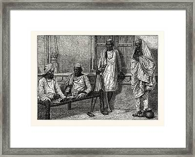 Religious Mendicants, Benares.  The Term Mendicant Refers Framed Print by English School