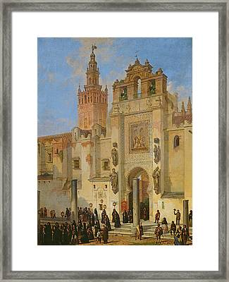 Religious Procession In Seville, 1853 Oil On Canvas Framed Print by Joachin Dominguez Becquer