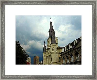 Religious Sky Framed Print by Sherry Dooley