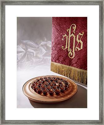 Religious Still Life Of Tray Of Wine Framed Print