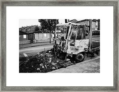 Remains Of Burnt Out Lorry Van After Loyalist Rioting And Violence North Belfast Northern Ireland Framed Print by Joe Fox