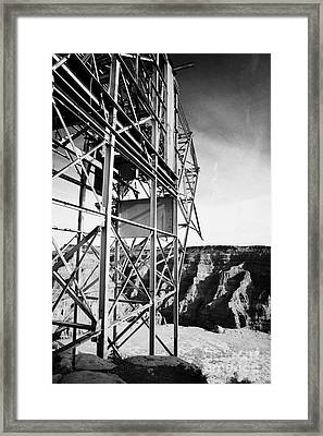 remains of old tramway headhouse for the mine at guano point Grand Canyon west arizona usa Framed Print