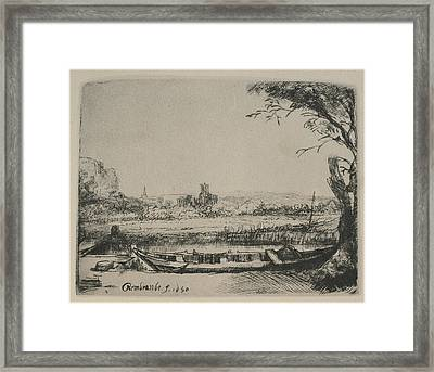 Rembrandt Sketch Of Cottage Landscape Framed Print by Rembrandt