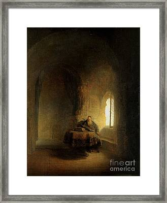 Rembrandt Man At Window Framed Print by Rembrandt