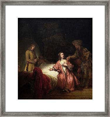 Rembrandt Workshop, Joseph Accused By Potiphars Wife Framed Print by Quint Lox