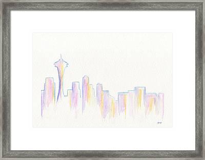 Remember Seattle Framed Print by Roz Abellera Art