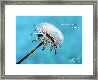 Remember When It Rained? Framed Print