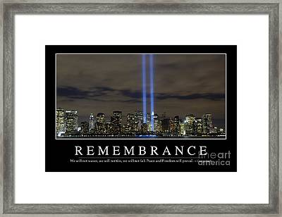 Remembrance Inspirational Quote Framed Print by Stocktrek Images