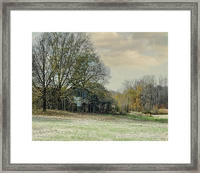Remnants - Old Barn Landscape Scene Framed Print by Jai Johnson