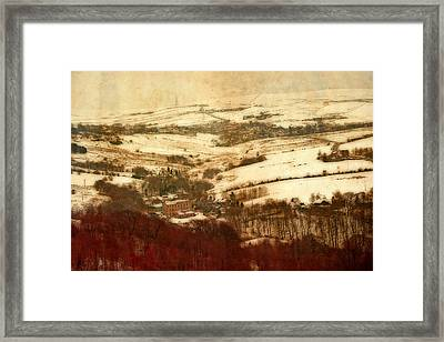 Remote Farmland On The Snow Covered Yorkshire Moors Framed Print by Ken Biggs