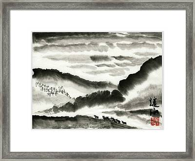 Framed Print featuring the painting Remote Mountains by Ping Yan
