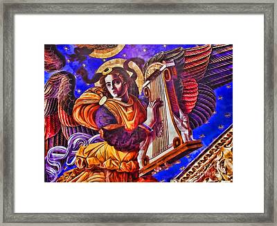 Renaissance Angel With A Harp Framed Print by Alexandra Jordankova