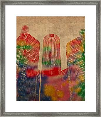 Renaissance Center Iconic Buildings Of Detroit Watercolor On Worn Canvas Series Number 2 Framed Print by Design Turnpike
