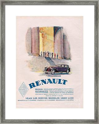 Renault 1930 1930s Usa Cc Cars Framed Print by The Advertising Archives