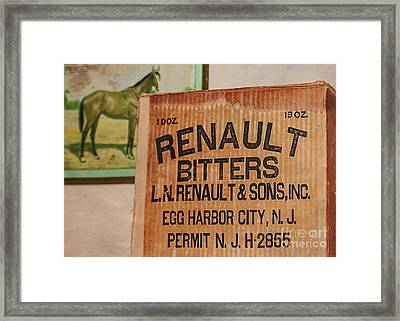 Renault Bitters Framed Print by Janice Rae Pariza