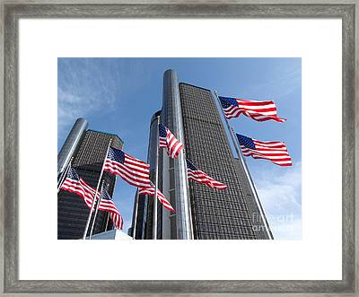 Rencen And Flags Framed Print by Ann Horn