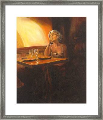 Rendevous At The Indian Restaurant Framed Print by Connie Schaertl