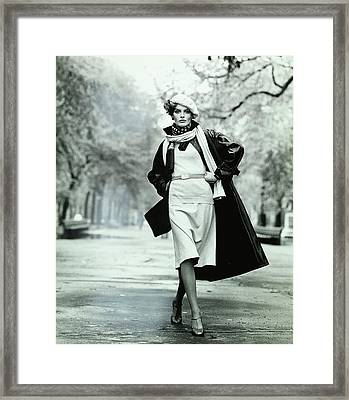Rene Russo Wearing A Leather Coat Framed Print