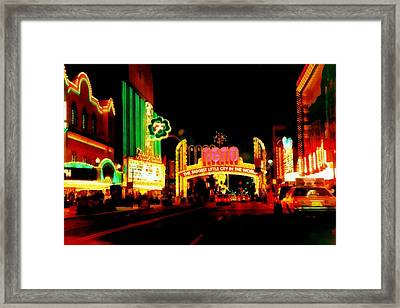 Reno At Night Framed Print by Michelle Calkins