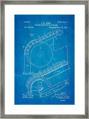 Reno Escalator Patent Art 1892 Blueprint Framed Print