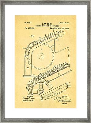 Reno Escalator Patent Art 1892 Framed Print by Ian Monk
