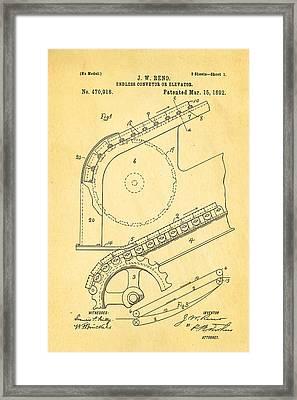 Reno Escalator Patent Art 1892 Framed Print