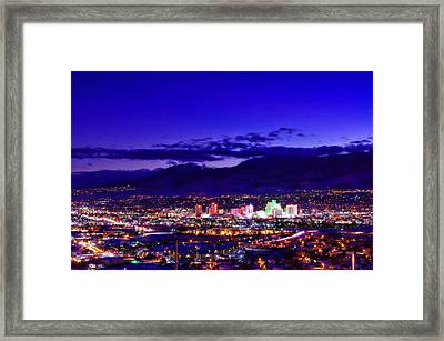 Reno Winter Cityscape Framed Print by Scott McGuire