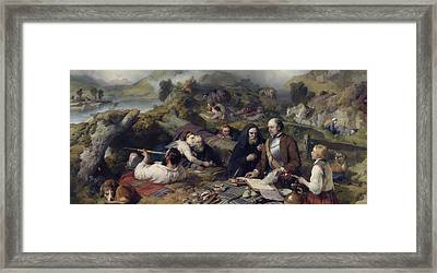 Rent-day In The Wilderness, 1868 Oil On Canvas Framed Print by Sir Edwin Landseer