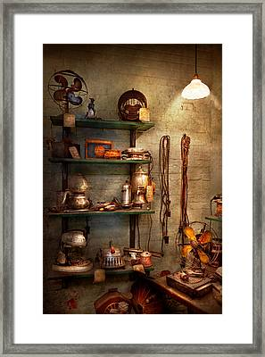 Repair - In The Corner Of A Repair Shop Framed Print by Mike Savad
