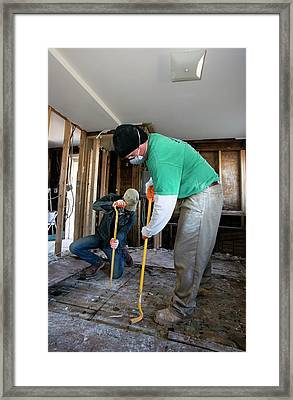 Repairing Hurricane Sandy Damage Framed Print