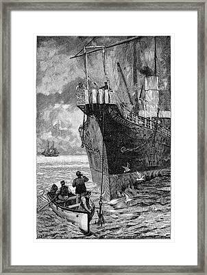 Repairing Submarine Telegraph Cable Framed Print