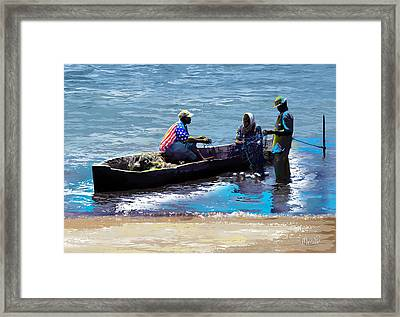 Framed Print featuring the painting Repairing The Net At Lake Victoria by Anthony Mwangi