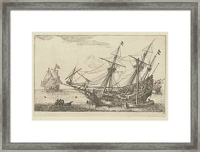 Repairs To The Hull Of A Merchant Ship, Anonymous Framed Print